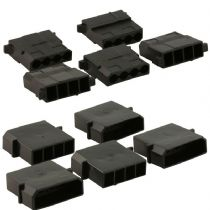 4 Pin Black Molex Connectors - 5 Each Male And Female With Crimps